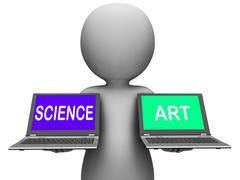 Science art laptops shows scientific or artistic Stock Illustration