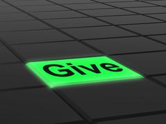 give button means bestowed allot or grant - stock illustration