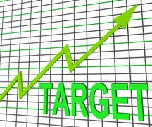 Target chart graph shows hit or hitting targets Stock Illustration