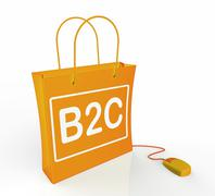 Stock Illustration of b2c bag represents online business and buying