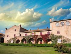Beautiful medieval architecture of Bolgheri - Tuscany - stock photo