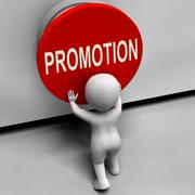 Promotion button shows new and higher role Stock Illustration