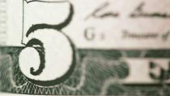 Numeral dollar bills macro rotating Stock Footage