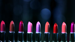 Stock Video Footage of Colorful Lipsticks. Professional Makeup and Beauty