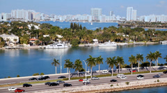 Traffic on freeway to Miami Beach in Florida, Aerial view - stock footage