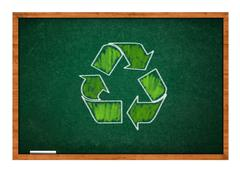 Recycle symbol on green chalkboard Stock Photos