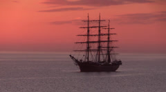 Three-masted full-rigged tall ship - stock footage