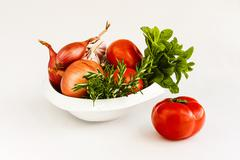 The vegetables are the healthiest food in the mediterranean diet Stock Photos