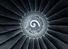 Photo of a jet engine with rotation signal - stock photo