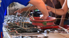 Sale lobsters, fish and seafood on the market in island Coron, Philippines Stock Footage