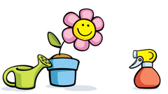 Cartoon flower in pot with watering can and sprayer Stock Footage