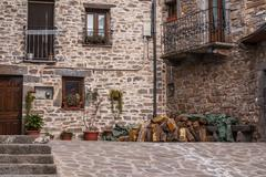 the medieval village of torla in spain pyrinees of aragon - stock photo