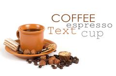Cup of coffee with ingredients on a white background Stock Illustration