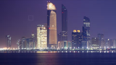 Stock Video Footage of night light panoramic time lapse from abu dhabi