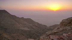 Sunset mountain time lapse from al ain uae Stock Footage