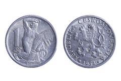 czechoslovakia coins on white - stock photo