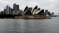 Sydney Opera House and ocean liner - stock footage