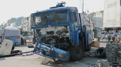 Destroyed police truck - Euromaidan revolution in Kiev Stock Footage
