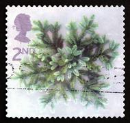 Postage stamp GB 2002 Spruce Branches, Christmas - stock photo