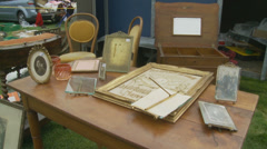 A car boot sale in Normandy, France Stock Footage
