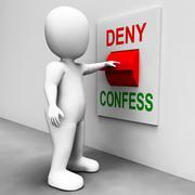 Confess deny switch shows confessing or denying guilt innocence Stock Illustration