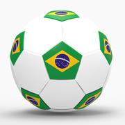 3d render of soccer football with brazilian flag Stock Photos