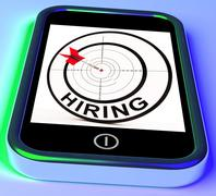 Stock Illustration of hiring smartphone means online recruitment for job position