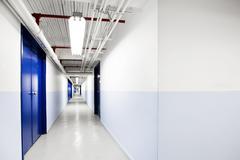 Endless Blue Corridor Stock Photos