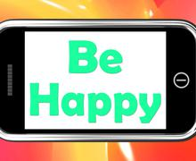 Be happy on phone shows cheerful happiness Piirros