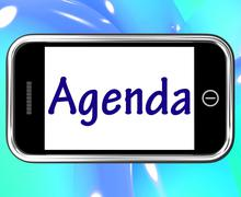 Agenda smartphone means online schedule or timetable Piirros