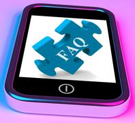 Faq smartphone shows frequently asked questions and answers Stock Illustration