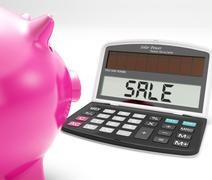 Stock Illustration of sale calculator shows price reduction and discounts