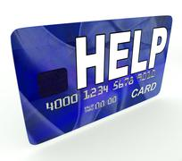 help bank card means give monetary support and assistance - stock illustration