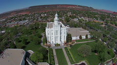 Aerial LDS Mormon Temple St George Utah HD 0041 Stock Footage