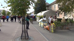 In central avenue bustling annual exhibition autumn harvest Stock Footage