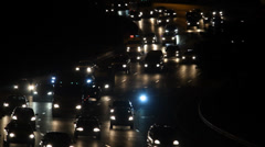 Traffic on Freeway in the night Stock Footage