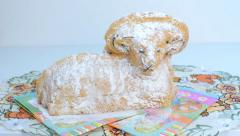 Easter decoration - ram to eat on the tablecloth Stock Footage