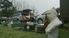 Antiques at French car boot sale Stock Footage