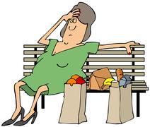 Tired shopper Stock Illustration