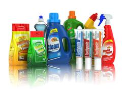 Cleaning supplies. household chemical detergent bottles. Stock Illustration