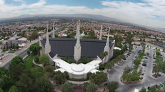 Aerial Temple LDS Mormon Las Vegas Nevada HD 0022 Stock Footage