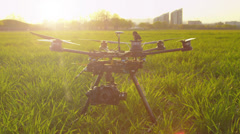 SLOW MOTION: RC multicopter starting propellers - stock footage