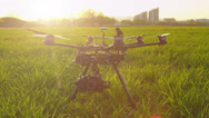 Stock Video Footage of SLOW MOTION: RC multicopter starting propellers