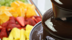 Detail of a chocolate fountain Stock Footage
