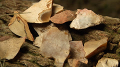 Native American Chert fragments Stock Footage