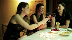 Young ladies drinking wine by the table Stock Footage