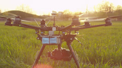 SLOW MOTION: RC helicopter takes off Stock Footage