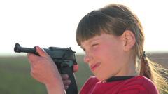 Boy with gun.Boy playing weapon.Little warrior. Stock Footage