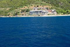 monastery on athos in greece - stock photo