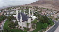 Aerial Las Vegas LDS Mormon Temple from above HD 0015 Stock Footage